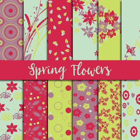 Spring Flowers Digital Paper
