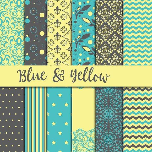 Blue Yellow Digital Paper