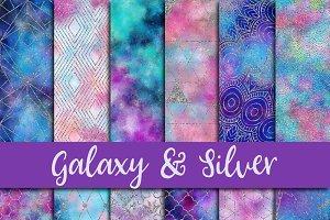 Galaxy & Silver Glitter Paper