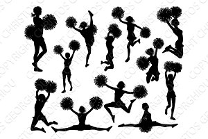 Cheerleaders with Pom Poms Silhouettes