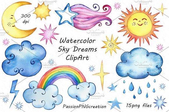 Watercolor Sky Dreams ClipArt