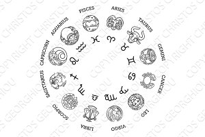 Astrological horoscope zodiac star signs symbols
