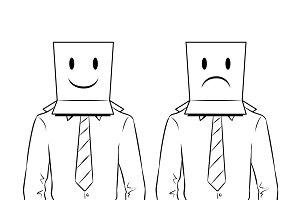 Man with box on head coloring vector illustration