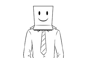 Man with box happy emoji on head coloring vector