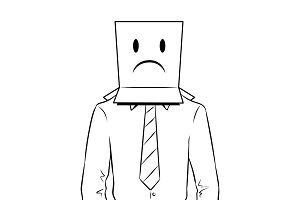 Man with box sad emoji on head coloring vector