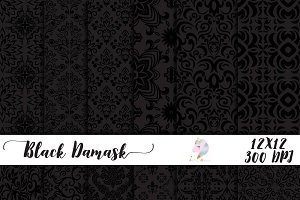 Black Damask Digital Paper