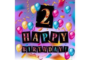 2th Birthday greeting card
