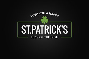 Patrick day logo on dark background