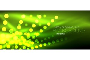 Circle abstract lights, green neon glowing background