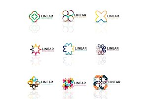 Set of geometric minimalistic abstract icons, stars and flowers, business fashion or beauty concept