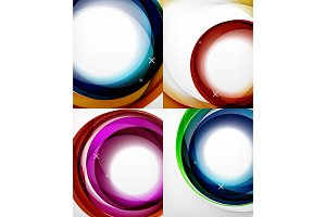 Transparent color wave lines abstract background set, glossy glass waves, vector abstract backgrounds, shiny light effects templates for web banner, business or technology presentation background or elements