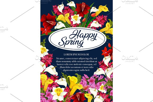 Vector Springtime Flowers Greeting Poster