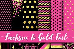 Fuchsia & Gold Foil Paper