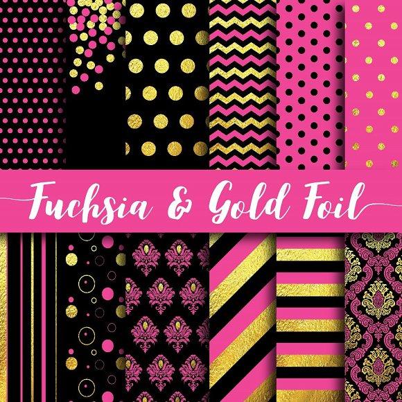 Fuchsia Gold Foil Paper