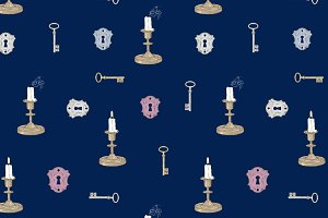 Candles and Keys Seamless Pattern