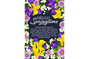 Vector Hello Springtime floral flower bunch poster