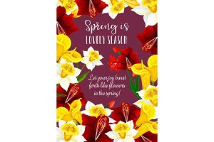 Springtime flowers blooms vector greeting card