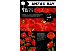 Anzac Day Lest We Forget poppy vector poster