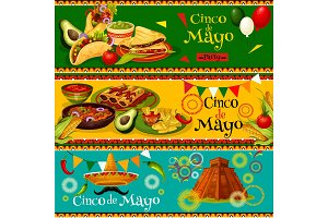 Cinco de Mayo Mexican vector party banners