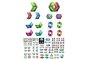 Mega collection of glossy geometric shiny glass geometric sale buttons. Vector promo web boxes templates