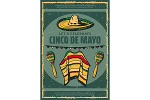 Cinco de Mayo Mexican sombrero retro sketch poster