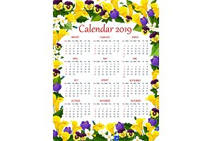 Year calendar template with spring flower frame