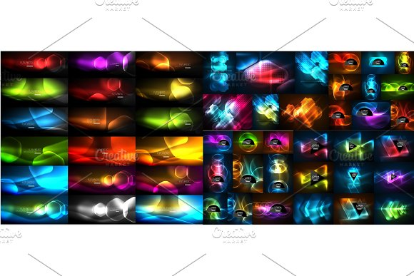 Mega Collection Of Vector Glowing Effect Abstract Backgrounds Shiny Lines Waves Geometric Forms In The Dark With Glow Effect Business Presentation Design Templates Web Brochure Or Web Flyer Concepts
