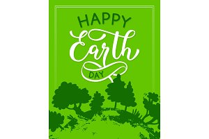 Vector Happy Earth Day green ecology greeting card