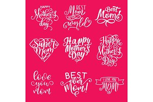 Happy Mother Day lettering greeting card design