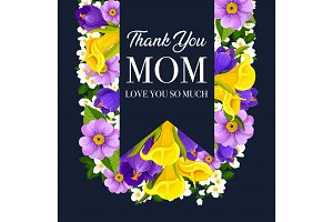 Mother Day flower card with spring blossom, ribbon