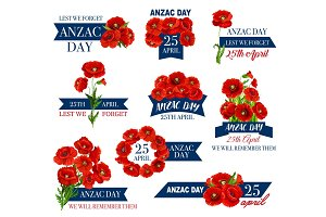 Anzac Day icon of poppy flower and memorial ribbon