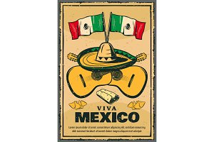 Cinco de Mayo Mexican holiday vector sketch poster