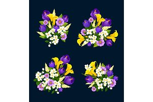 Flower bouquet icon of floral greeting card design