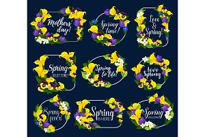 Vector spring flowers bouquets icons