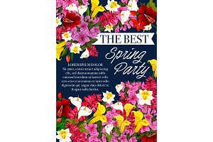 Vector spring party flowers springtime poster