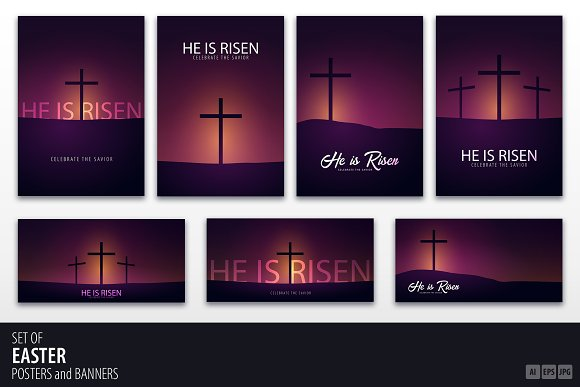 He Is Risen Church Flyers Posters