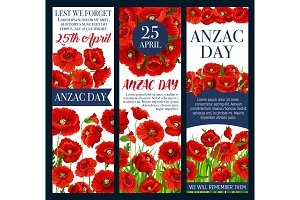 Anzac Day Lest We Forget banner with poppy flower