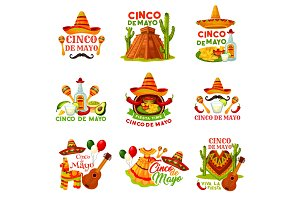 Cinco de Mayo fiesta party icon of mexican holiday