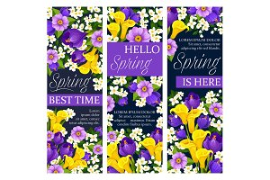 Vector springtime floral flowers bunch banners