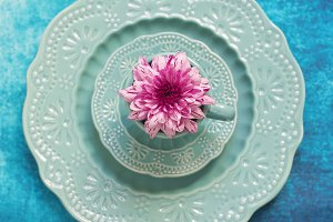 Set of decorative porcelain dishes