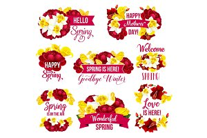 Flower icon of Spring Season Holiday greeting card