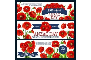 Anzac Day red poppy flower festive banner design