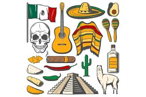 Mexican Cinco de Mayo vector fiesta sketch icons