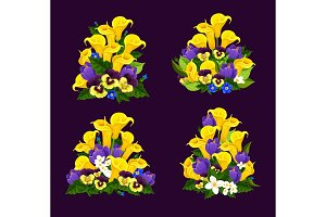 Spring flower icon with blooming floral bouquet