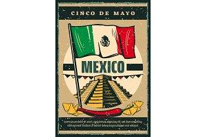 Mexican holiday Cinco de Mayo vector sketch poster