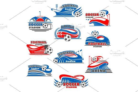 Soccer Stadium Icon Of Football Sport Building