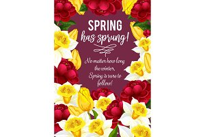 Vector springtime greeting card of spring flowers