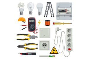 Electrician tools vector set