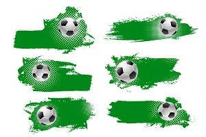 Vector soccer or football ball green backdrops