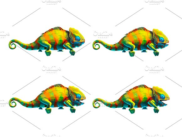 Sprite sheet of cute chameleon
